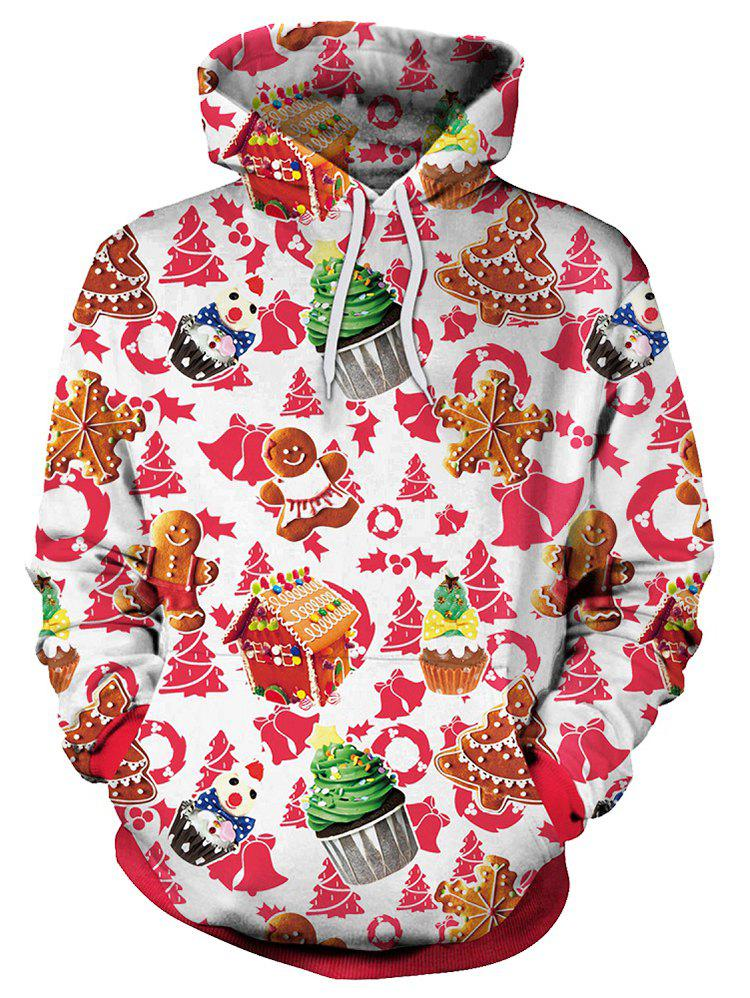 Discount Christmas Theme Cake Print Pullover Hoodie