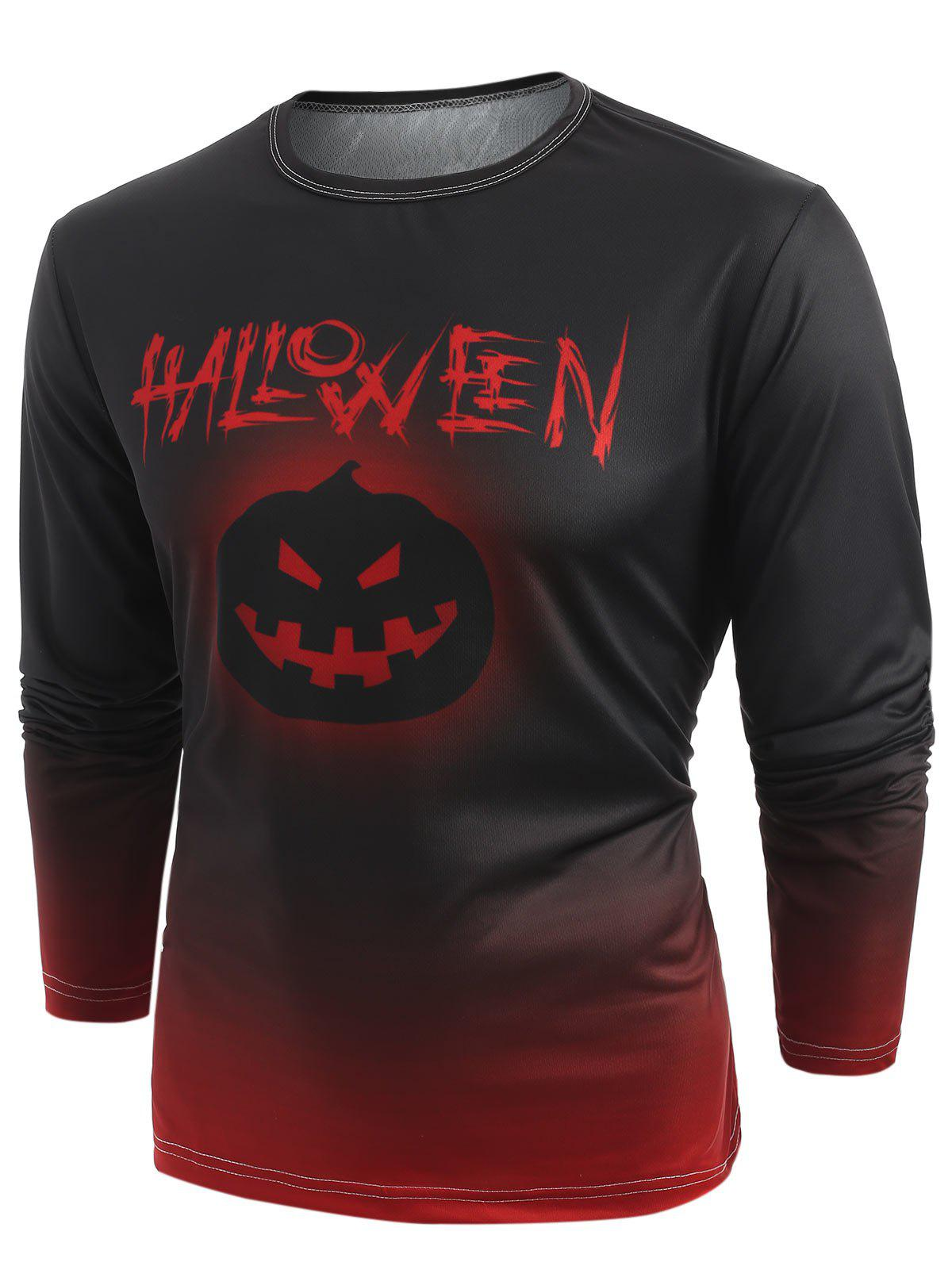 Buy Halloween Pumpkin Lantern Print Long Sleeve T-shirt