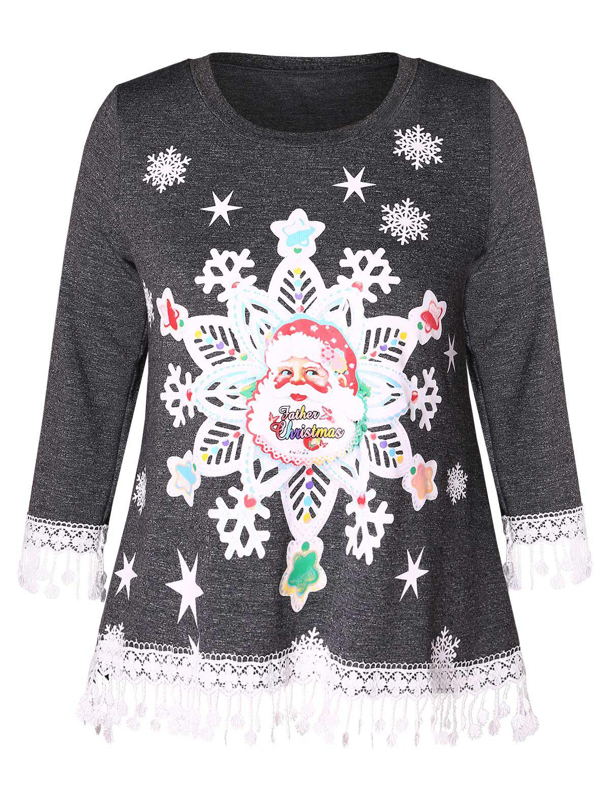 Affordable Christmas Santa Claus Print Lace Panel Plus Size T-shirt