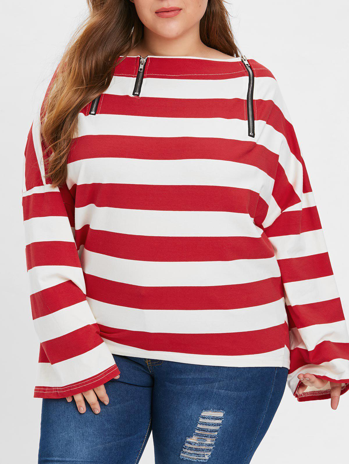 d0eed850289c7e 2018 Plus Size OFF The Shoulder Stripe T-shirt In Red One Size ...
