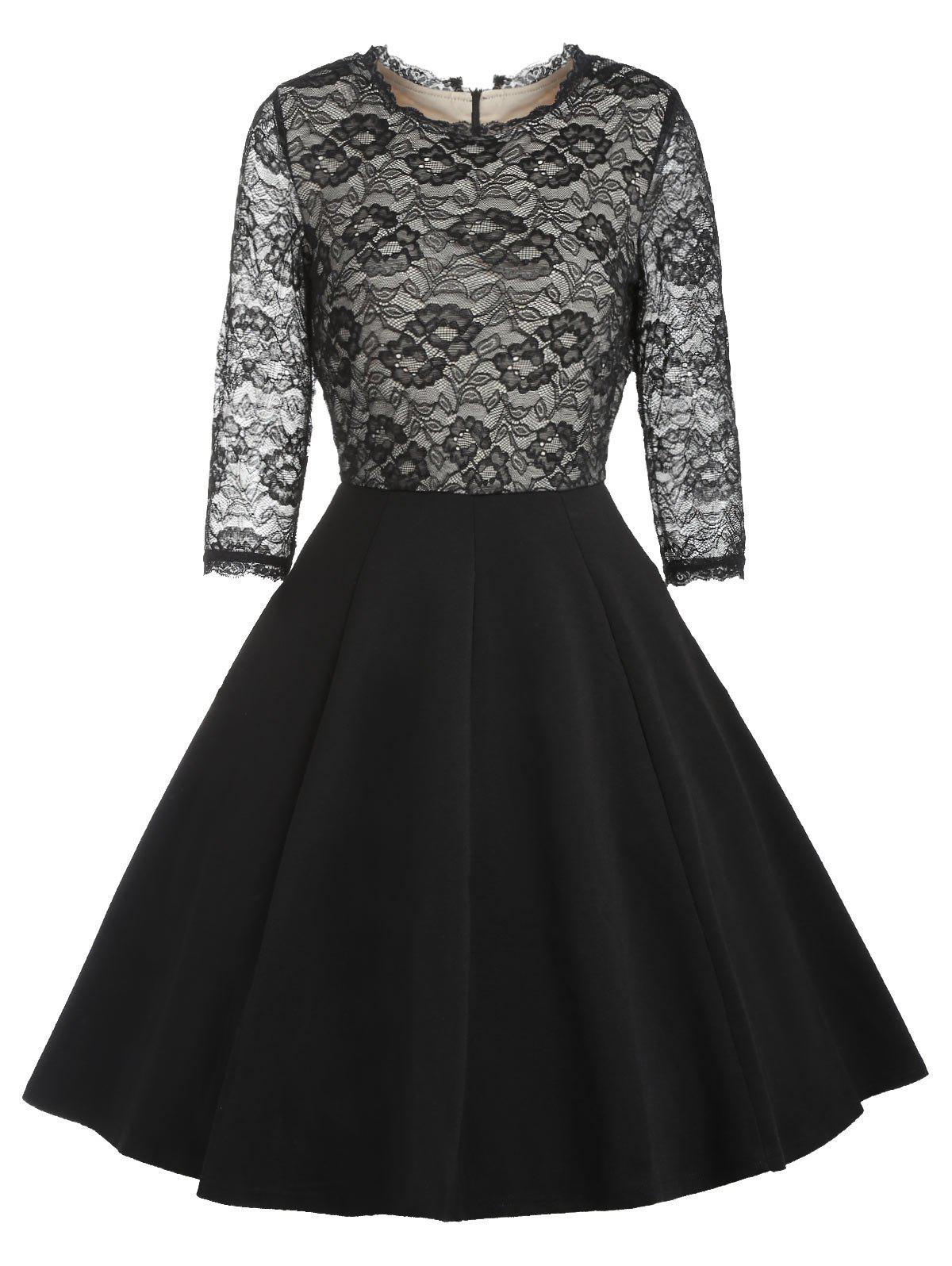 Sale Retro Lace Panel Pin Up Dress