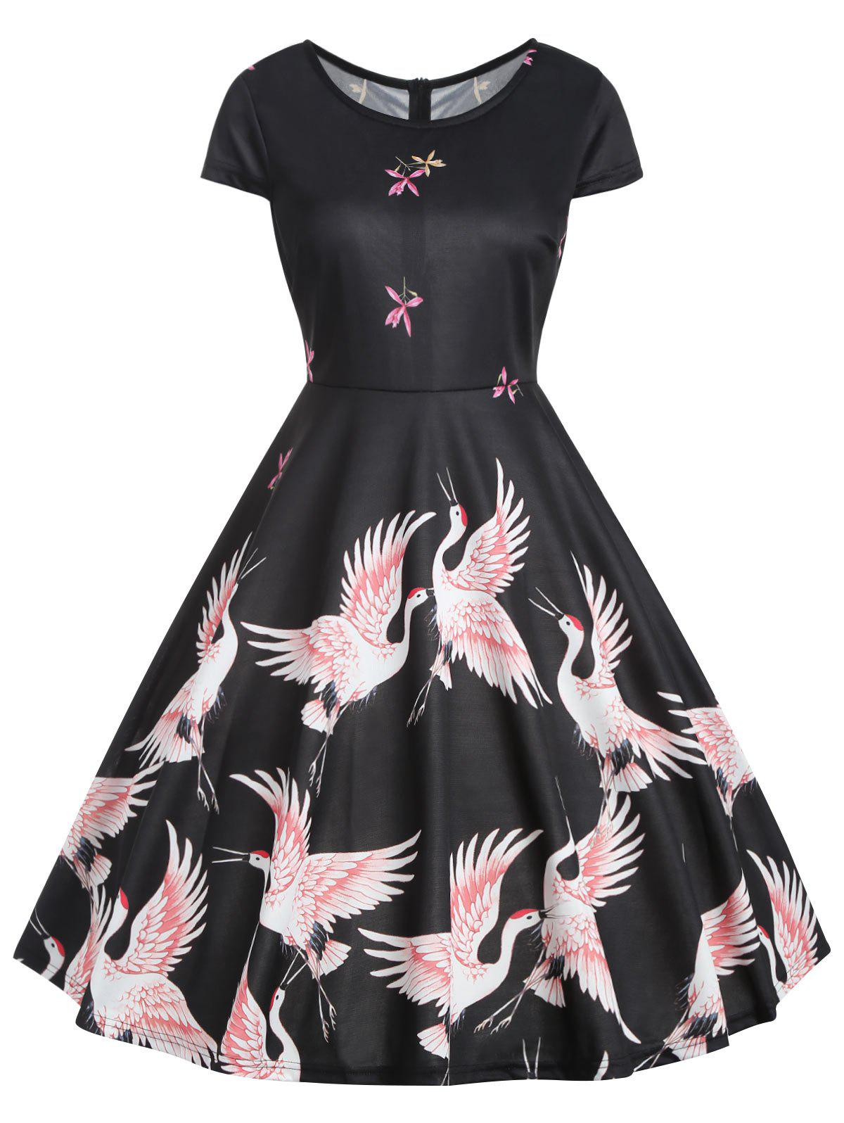 Outfits Vintage Red Crowned Crane Print Pin Up Dress