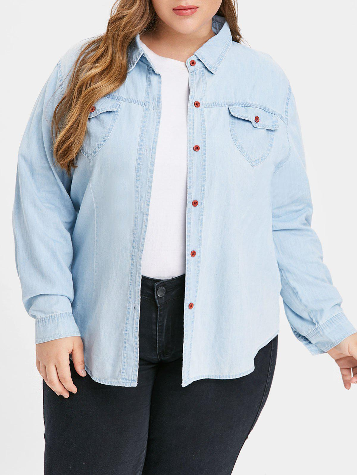 Chic Front Pockets Plus Size Shirt