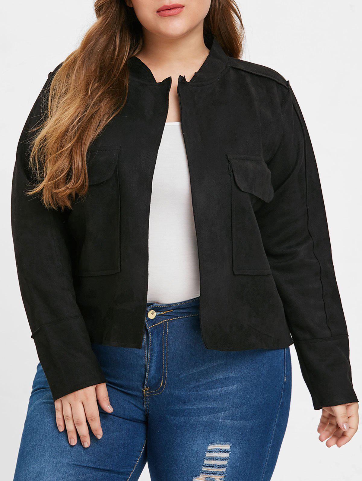 Buy Front Pockets Plus Size Turn Down Collar Jacket