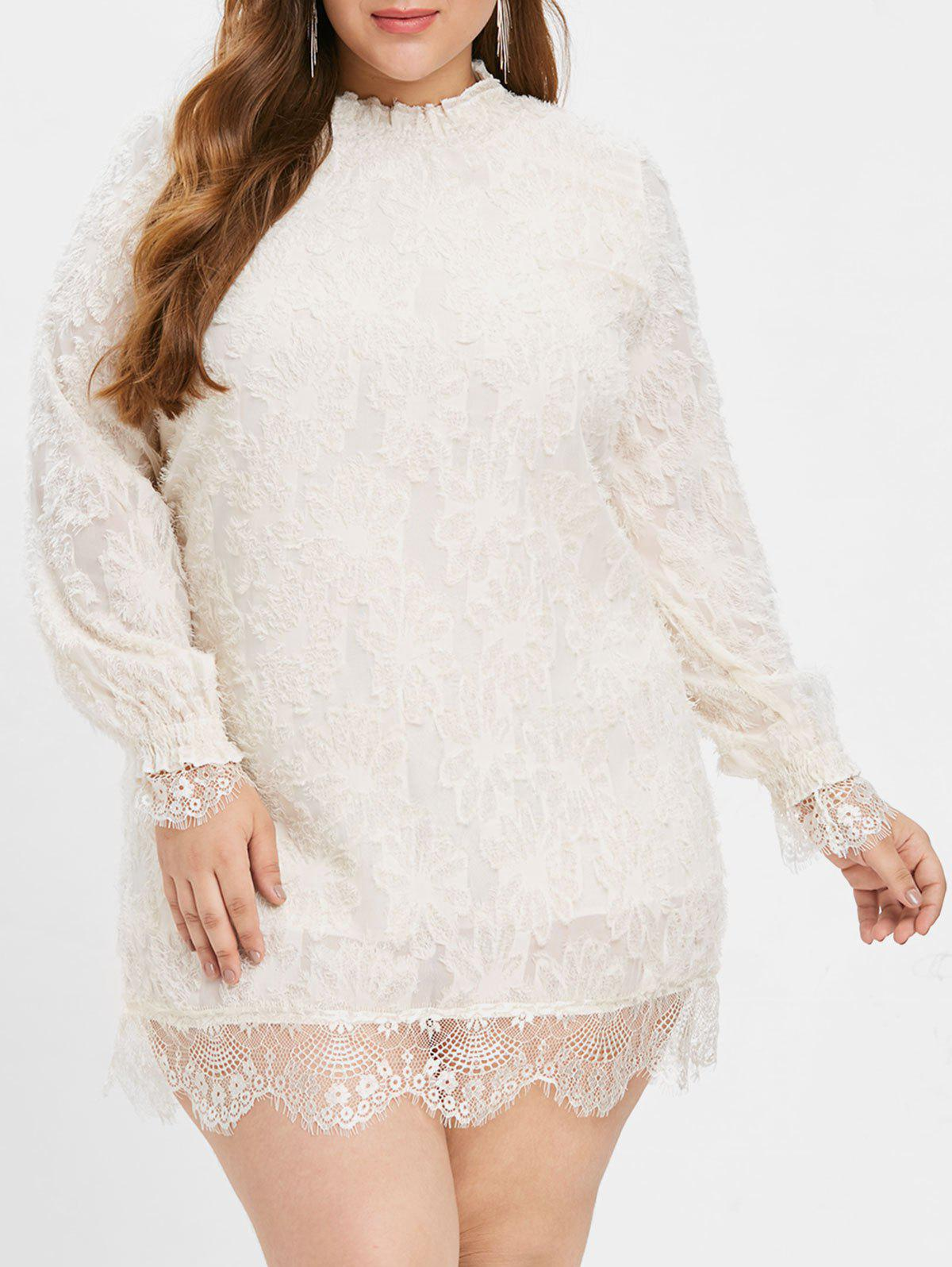 Fancy Plus Size Lace Eyelash Dress