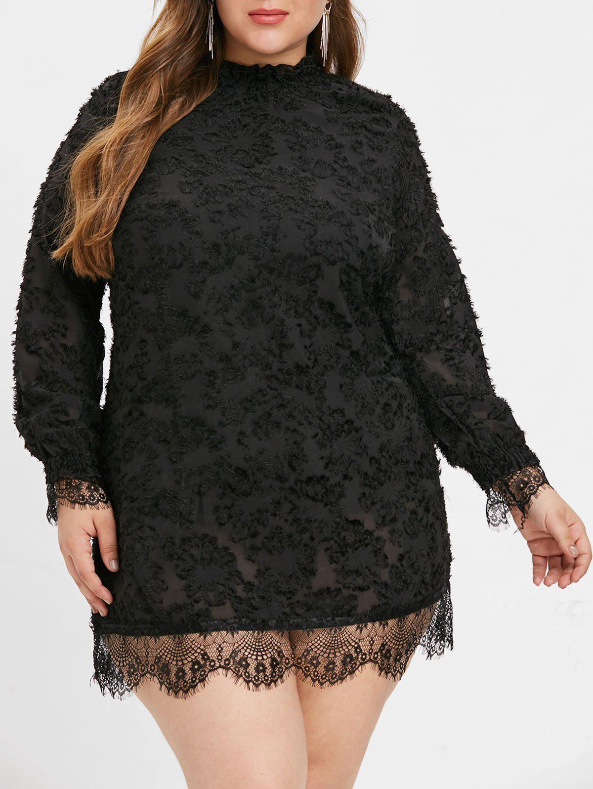 Chic Plus Size Lace Eyelash Dress