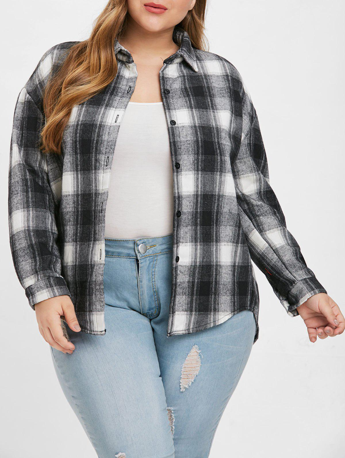 Discount Plus Size Buttoned Plaid Coat