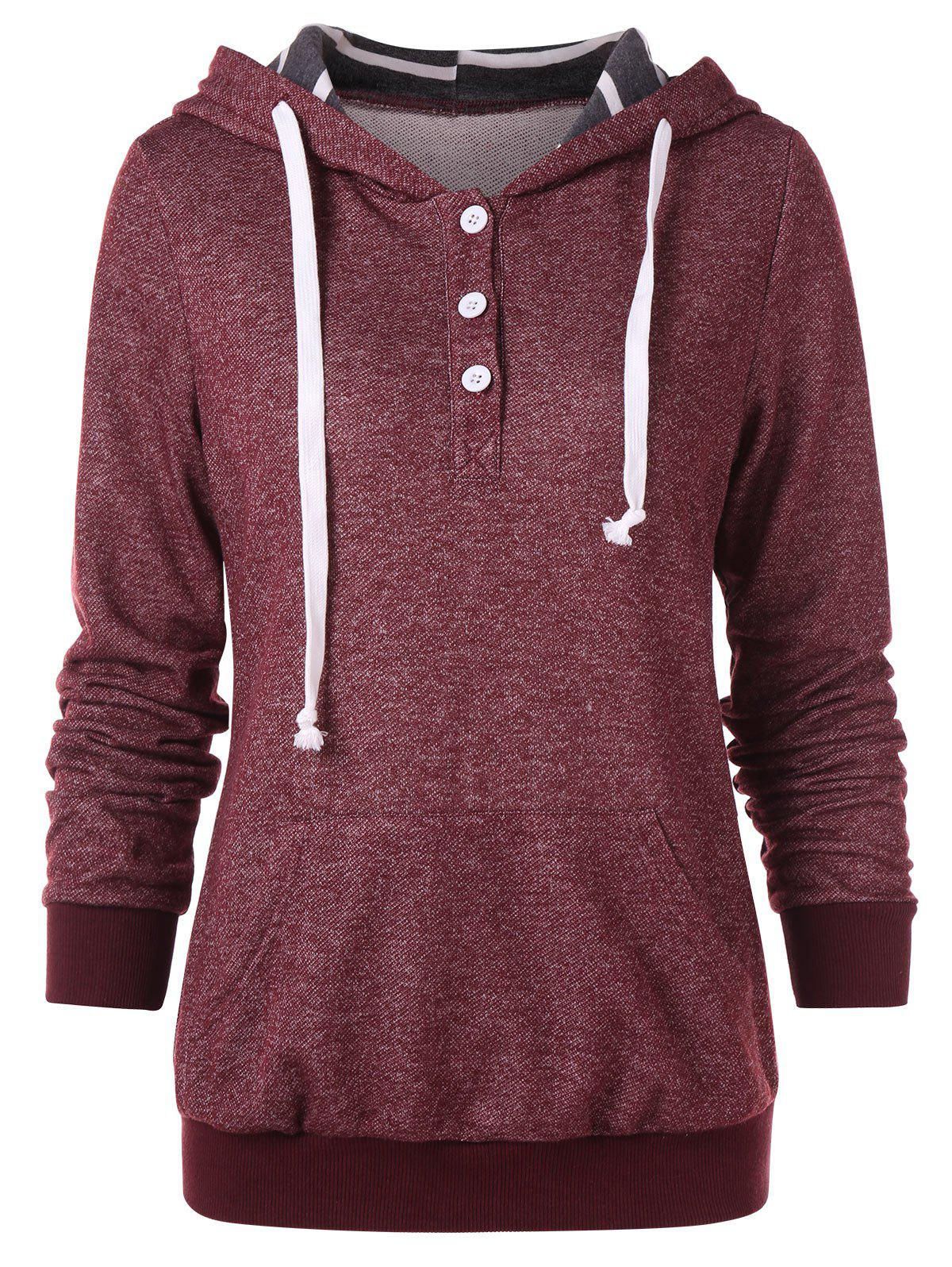 Online Button Embellished Drawstring Hoodie