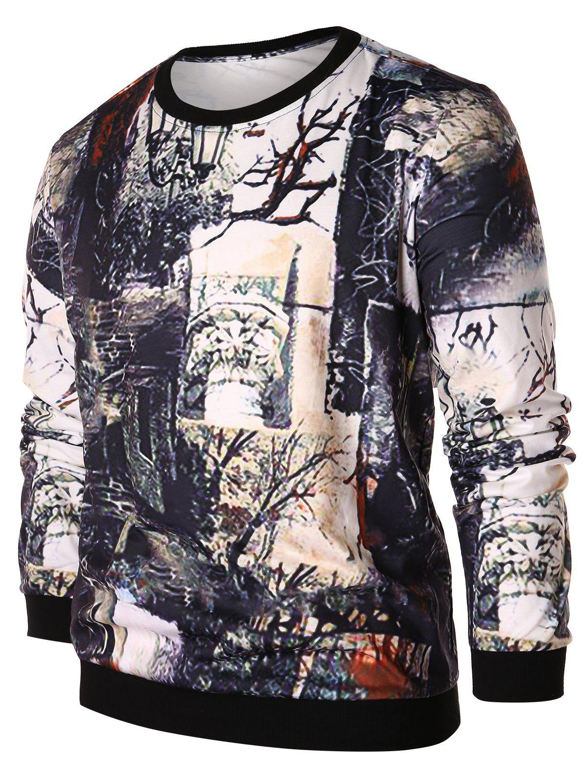 Sweat-shirt Pull-over Vintage Arbre Imprimé Multi 2XL