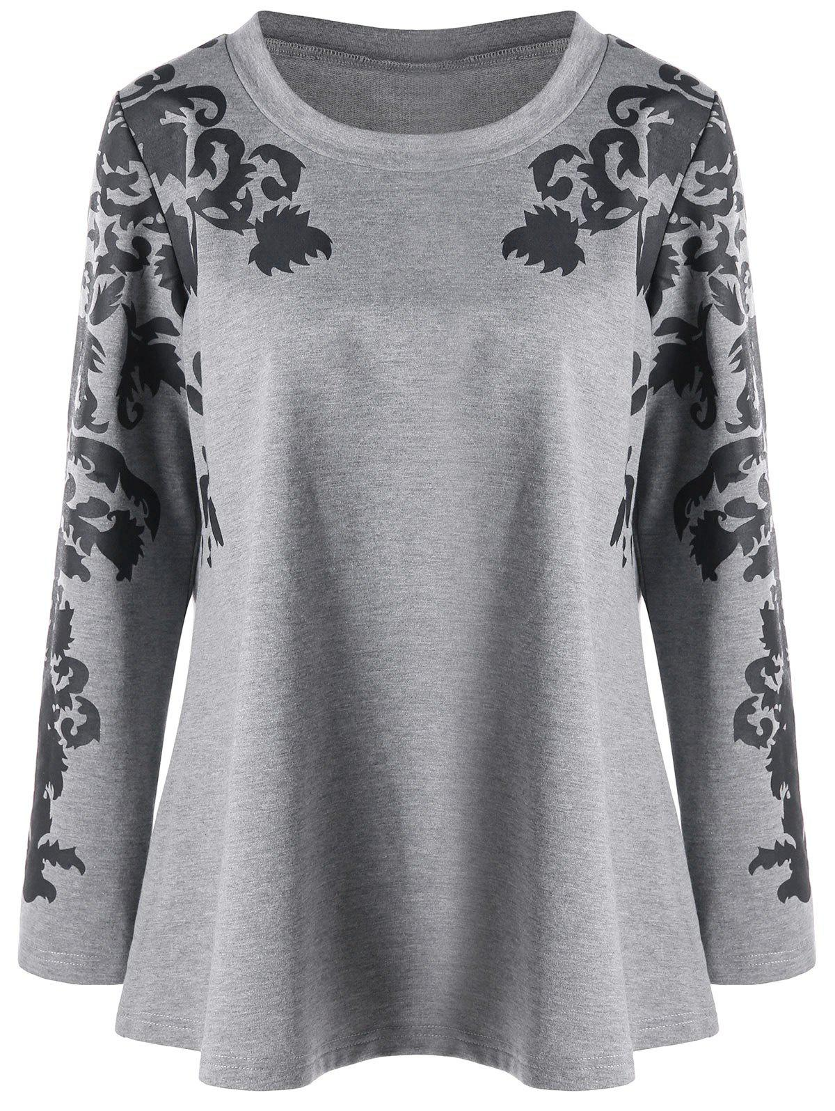 Discount Raglan Sleeve Plus Size Print Top