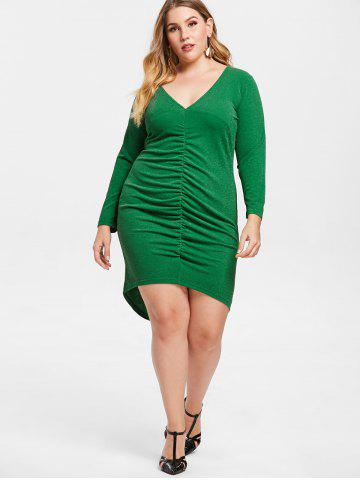 Plus Size Plunging Ruched Bodycon Dress