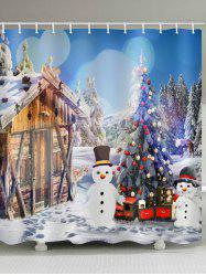 House with Two Snowman Print Bathroom Shower Curtains -