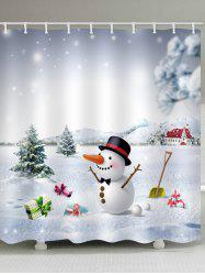 Snow Land with Snowman Print Waterproof Shower Curtain -