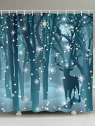 Deer in the Snow Forest Print Bathroom Shower Curtains -