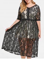 V Neck Plus Size Lace Mid Calf Dress -