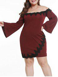 Plus Size Lace Insert Off Shoulder Dress -
