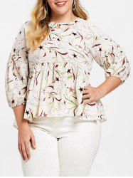 Plus Size Puff Sleeve Star Print Blouse -