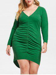 Plus Size Plunging Ruched Bodycon Dress -