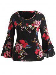 Layered Bell Sleeve Plus Size Floral Print Blouse -