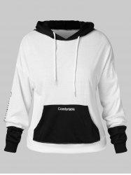 Plus Size Two Tone Letter Print Graphic Hoodie -