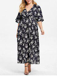Plus Size Floral A Line Surplice Dress -