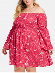 Plus Size Off Shoulder Snowflake Print Dress -
