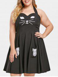Cat Cosplay Plus Size Pinafore Dress -