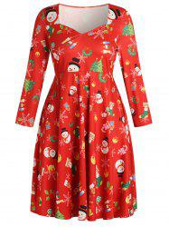 Christmas Plus Size Printed Fit and Flare Dress -