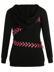 Back Lace Up Plus Size Drawstring Hoodie -