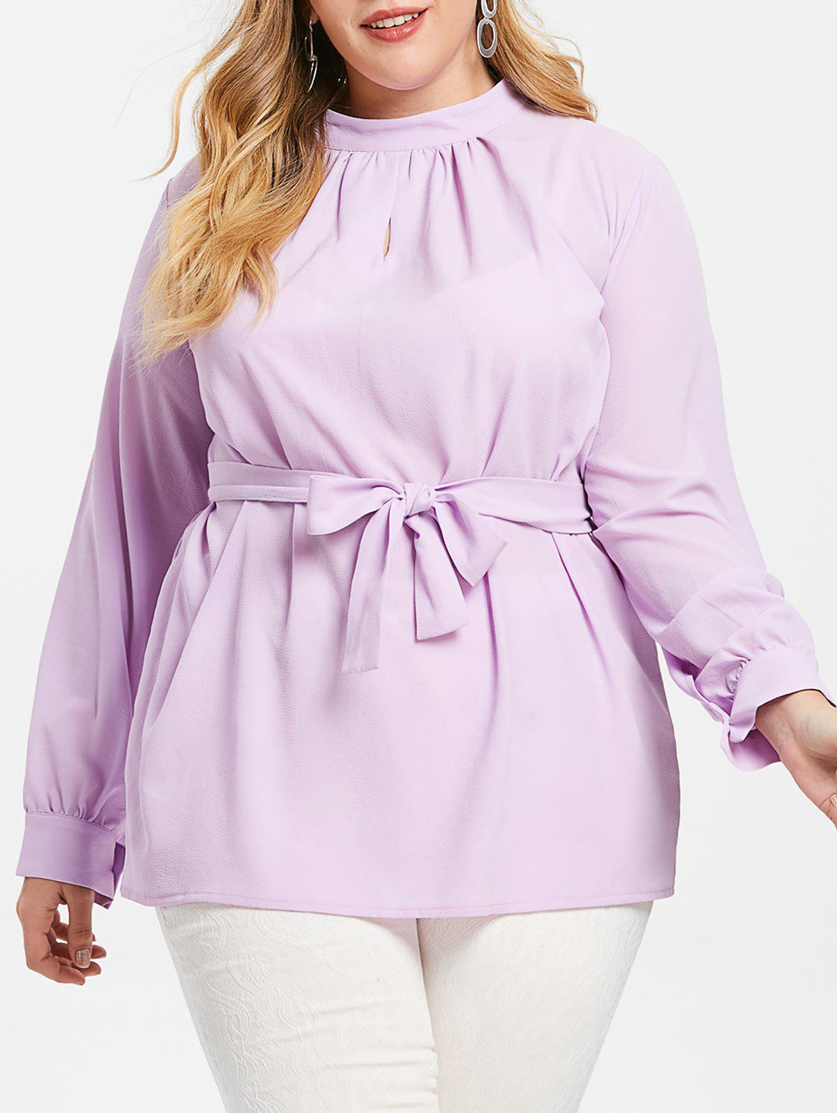 Cheap Keyhole Plus Size Belted Blouse