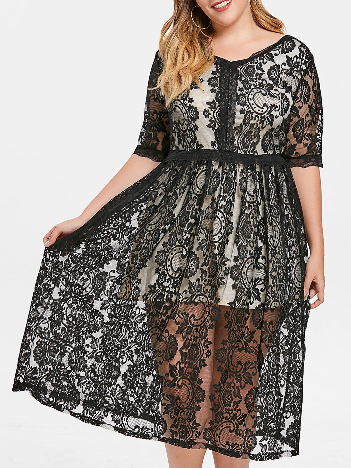 Store V Neck Plus Size Lace Mid Calf Dress