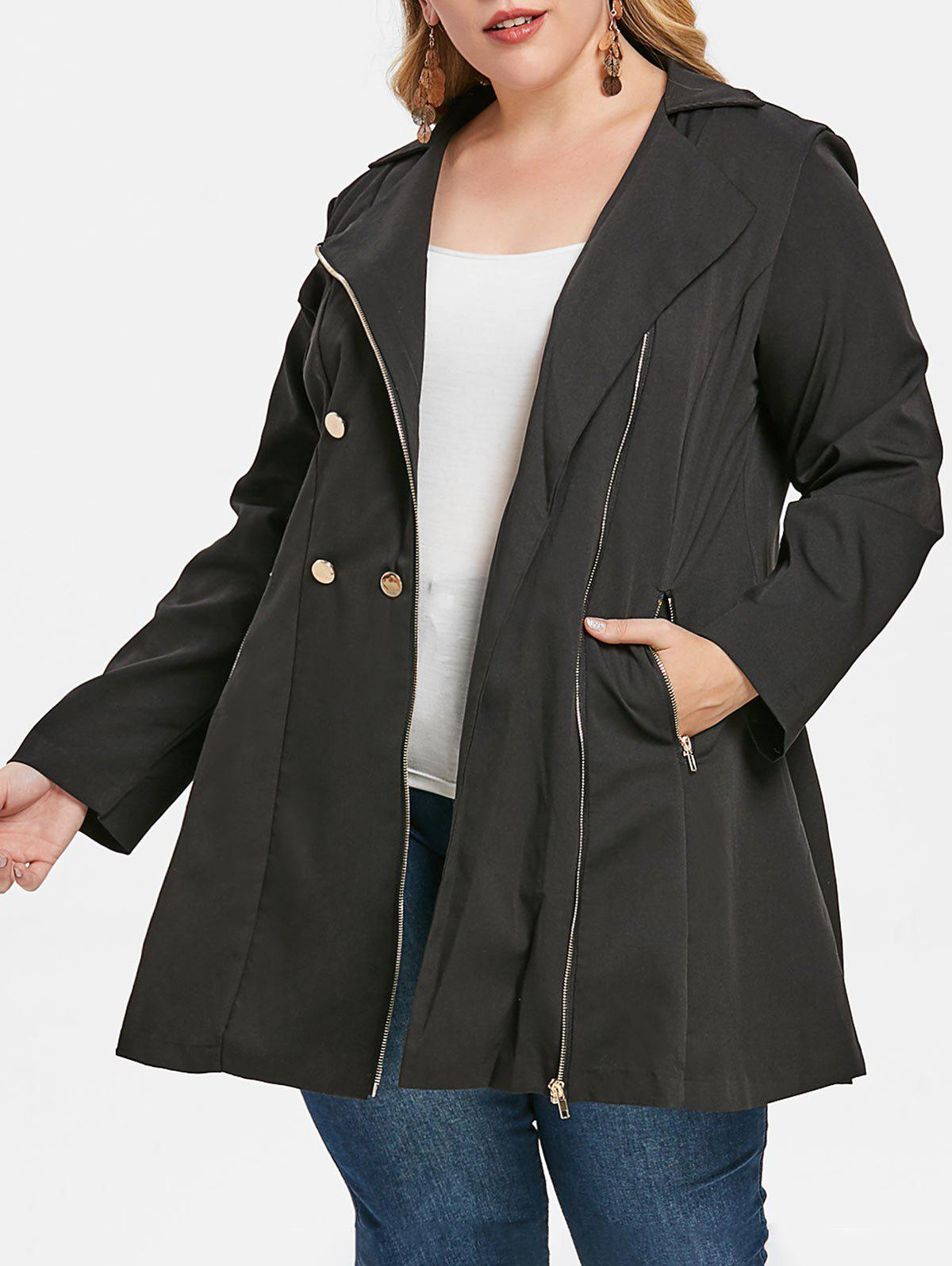 Trendy Plus Size Double Breasted Coat
