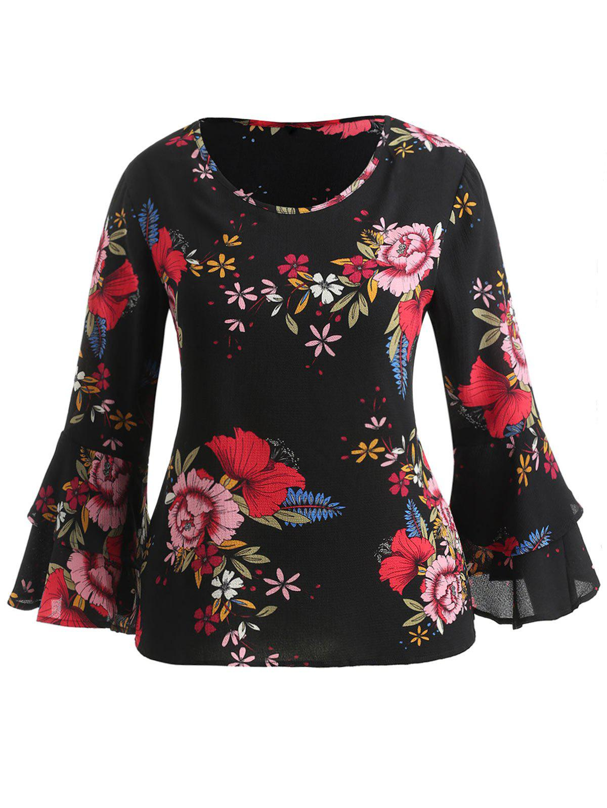 Latest Layered Bell Sleeve Plus Size Floral Print Blouse