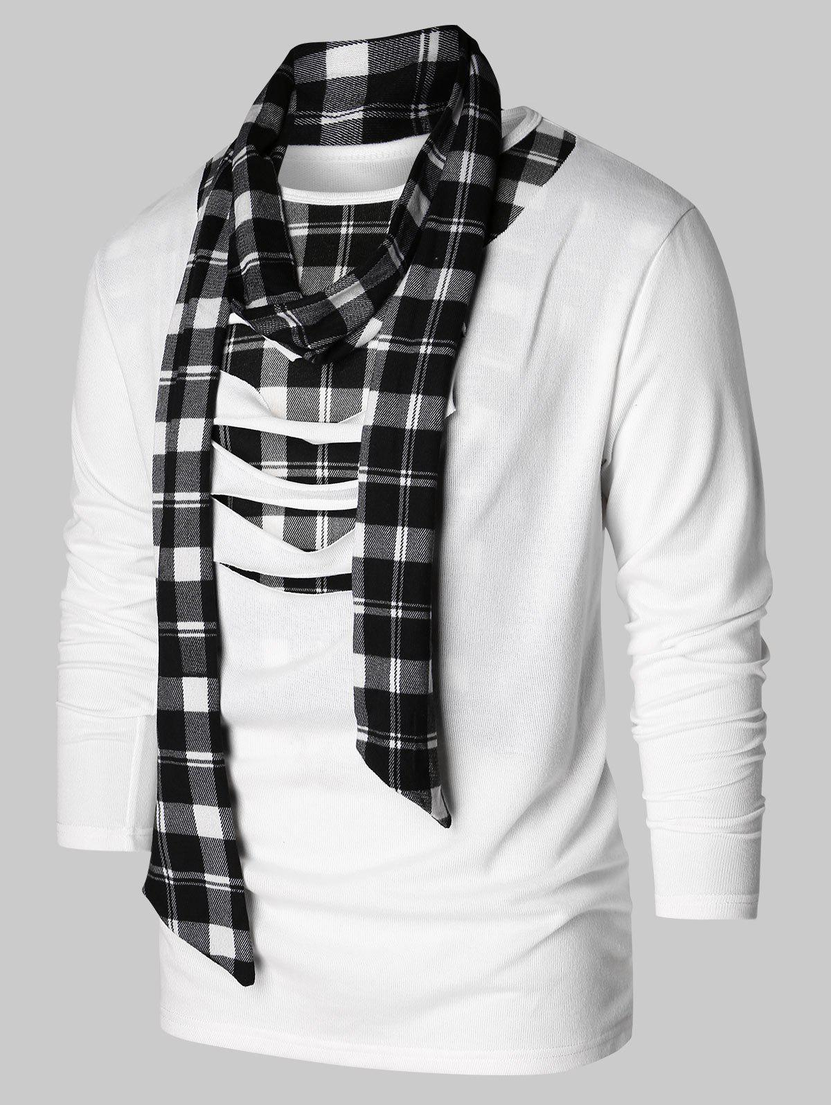 Latest Checked Print Destroyed Scarf Collar T-shirt