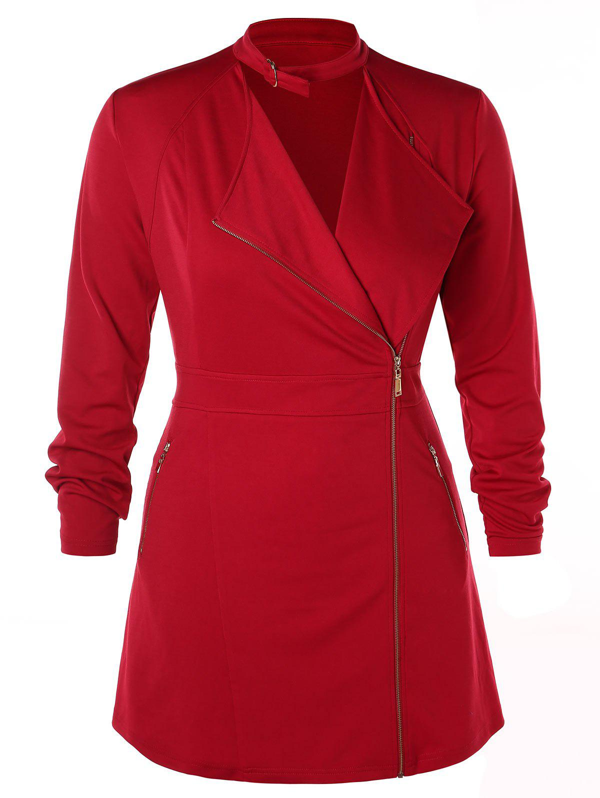 Discount Plus Size Zipped Lace Up Coat