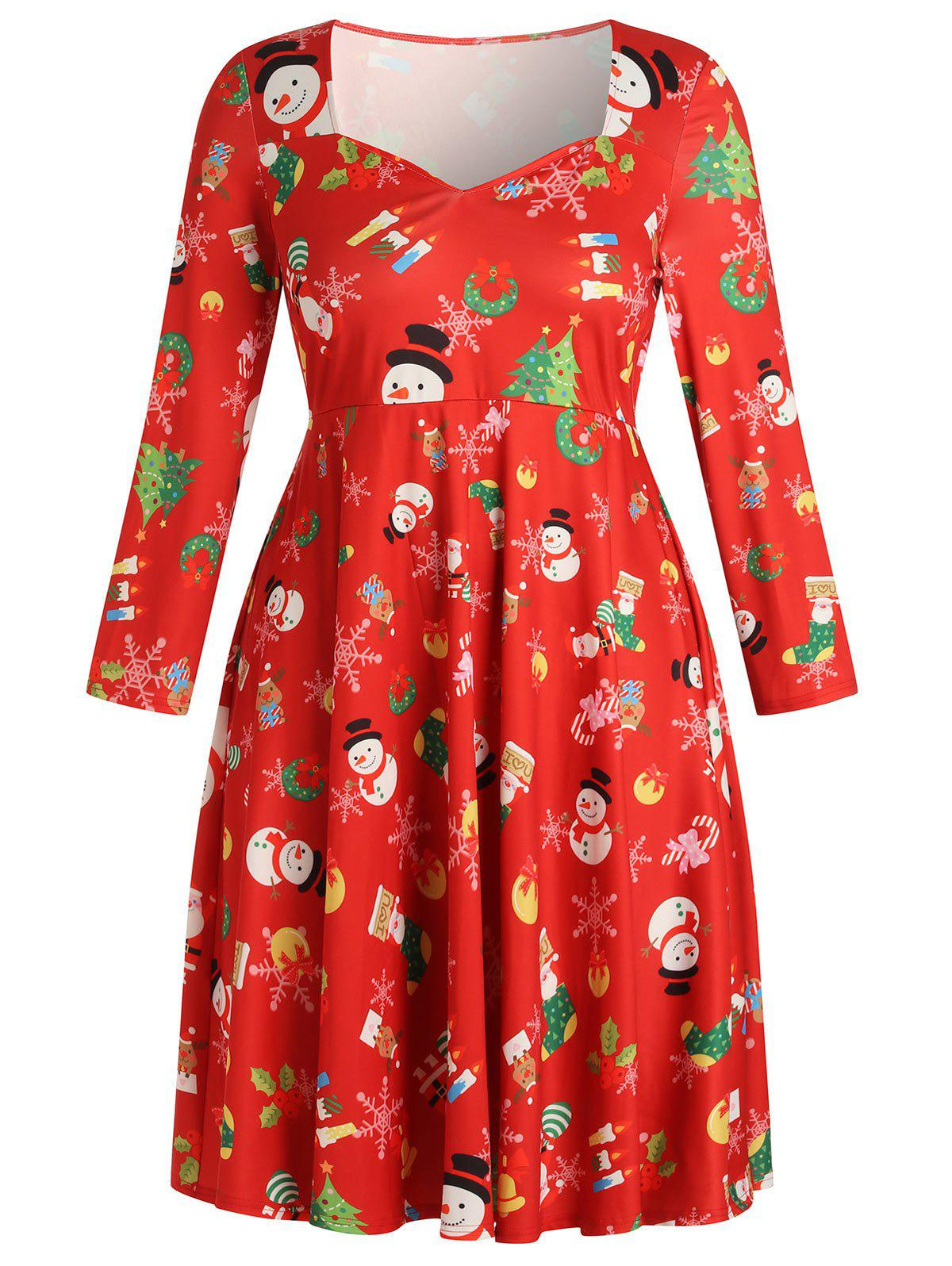Fashion Christmas Plus Size Printed Fit and Flare Dress