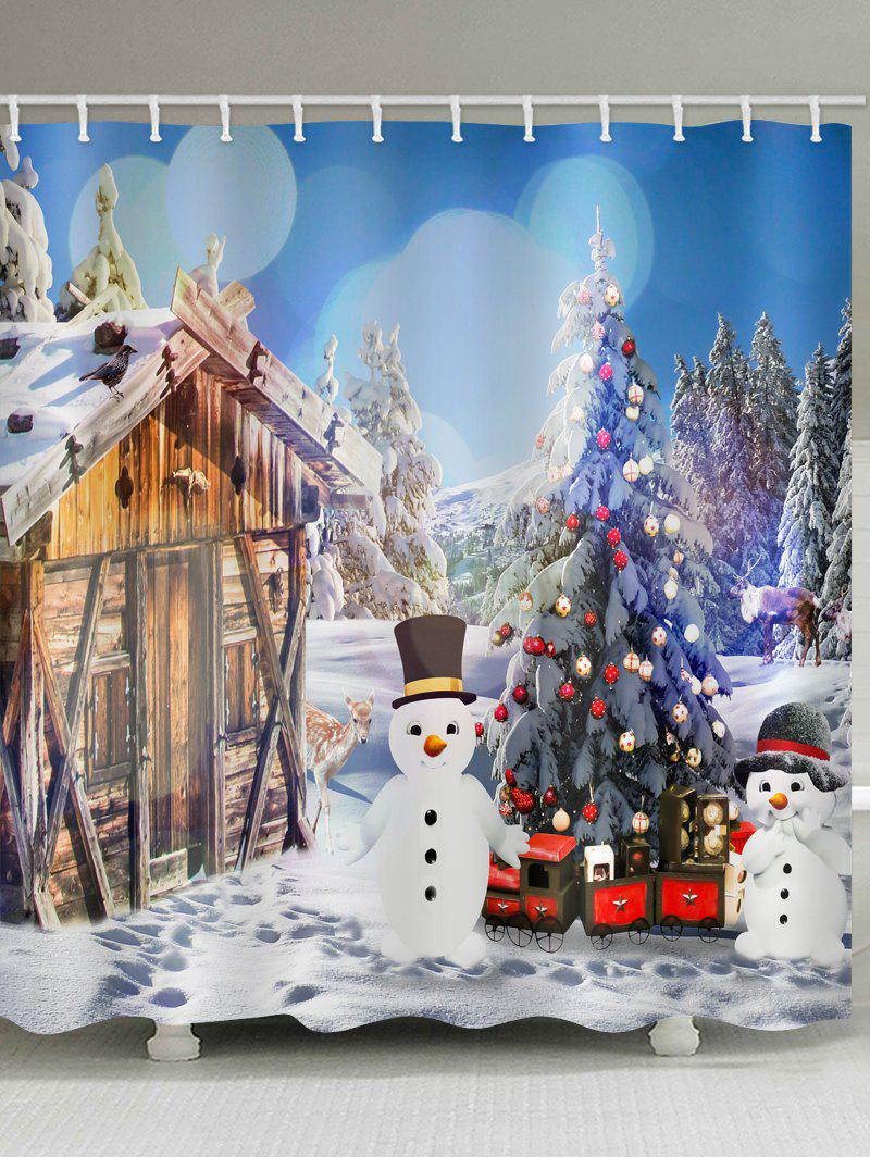 Fashion House with Two Snowman Print Bathroom Shower Curtains