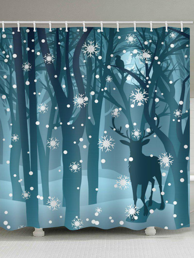 Store Deer in the Snow Forest Print Bathroom Shower Curtains