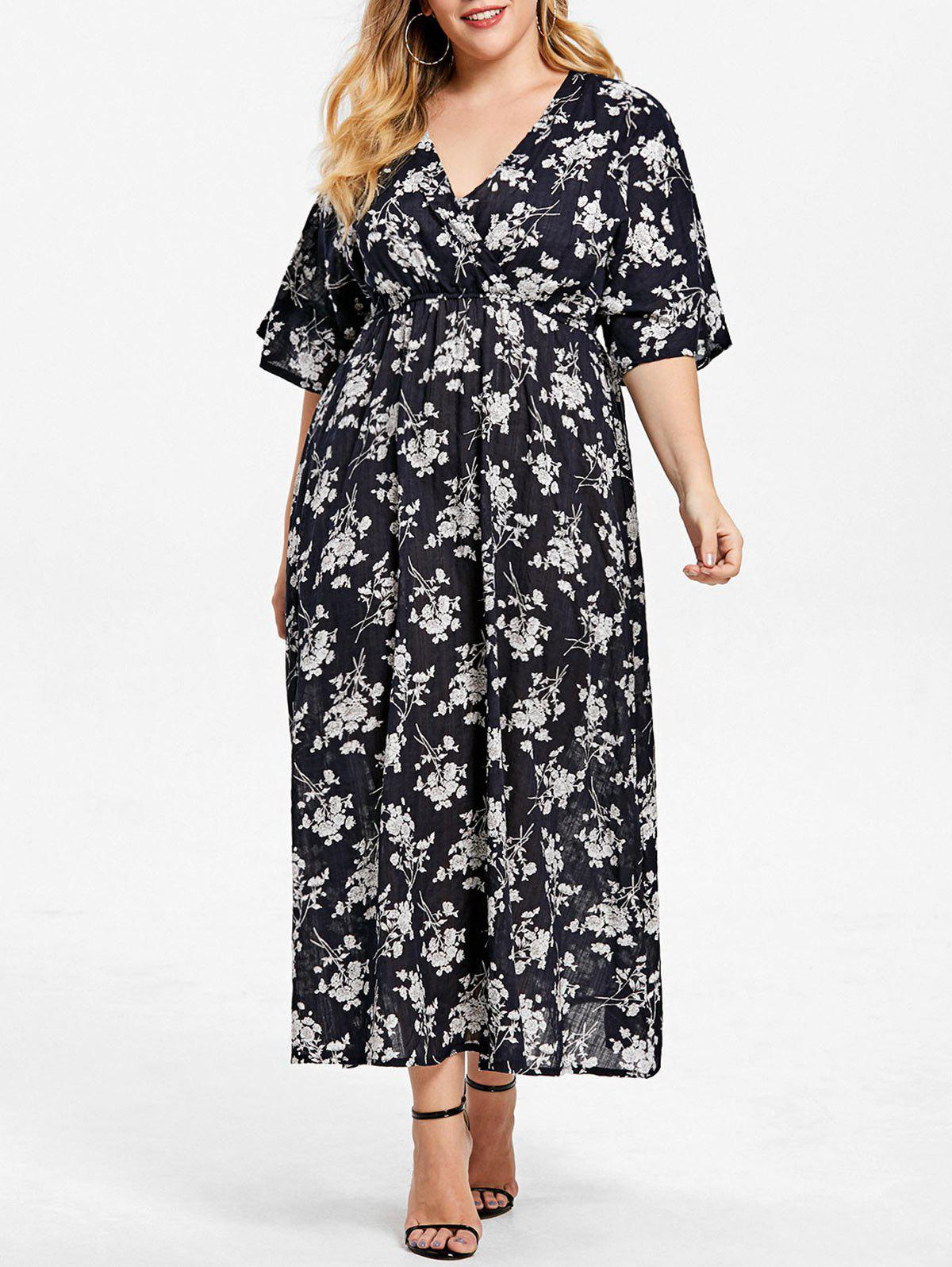 Plus Size Floral A Line Surplice Dress