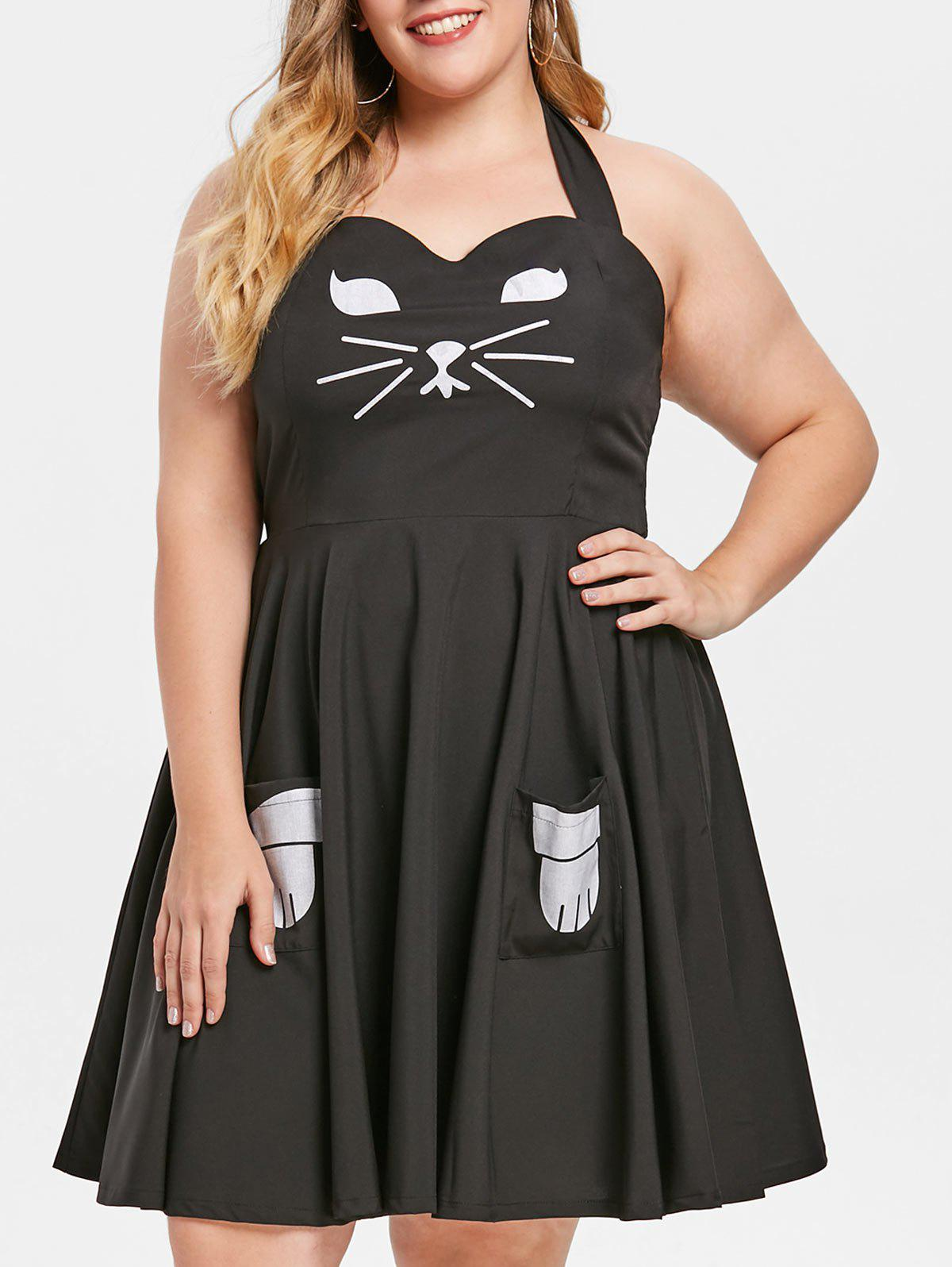 Unique Cat Cosplay Plus Size Pinafore Dress