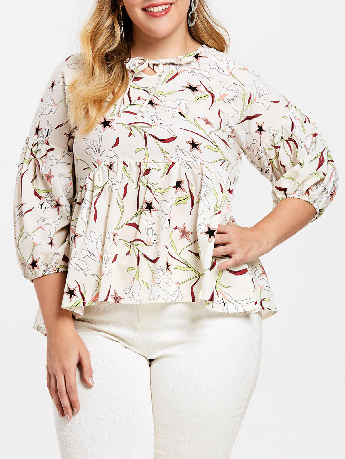 Sale Plus Size Puff Sleeve Star Print Blouse