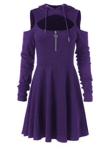 Cut Out Full Sleeve Flare Hooded Dress