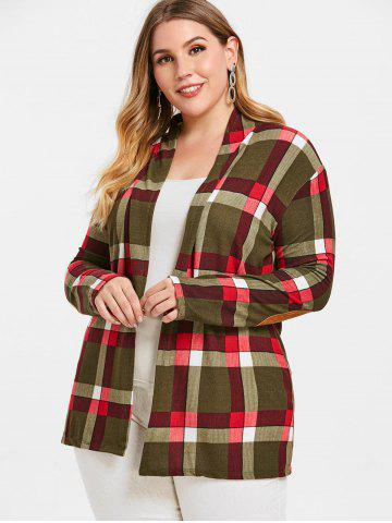 Open Front Checked Plus Size Cardigan
