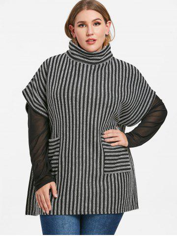 Turtleneck Plus Size Striped Sweater