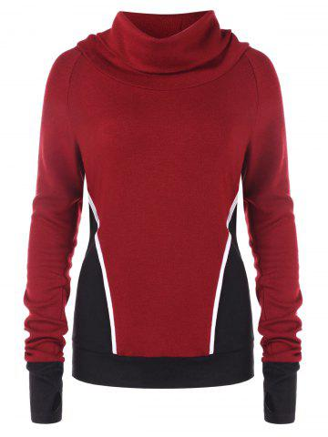 Contrast Color Turtleneck Sweatshirt
