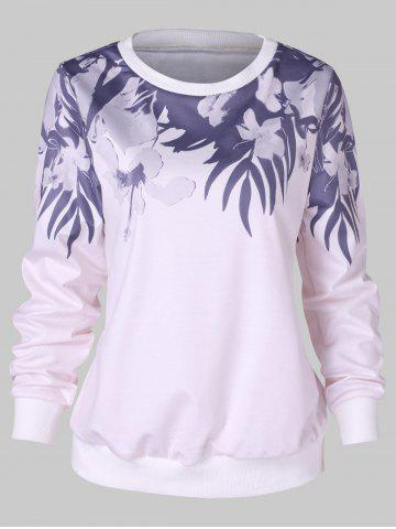 Flower Print Trim Sweatshirt