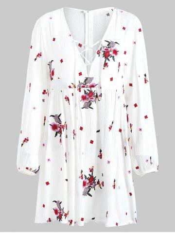 Floral Embroidery Long Sleeve Casual Dress
