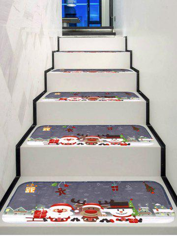 Cartoon Christmas Happy Friends Print Stair Rugs - MULTI - 5PCS X 28 X 9 INCH