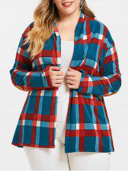 Open Front Checked Plus Size Cardigan -