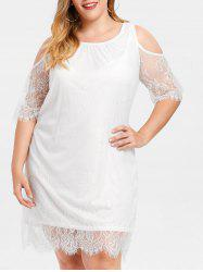 Shift Cold Shoulder Plus Size Lace Dress -